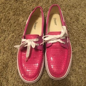 Pink Sequined Womans Boat Shoes Size 8